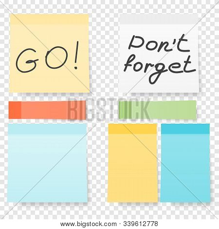 Colored Note Stickers Set. Collection Of Different Colored Sheets Of Note Papers Ready For Your Mess