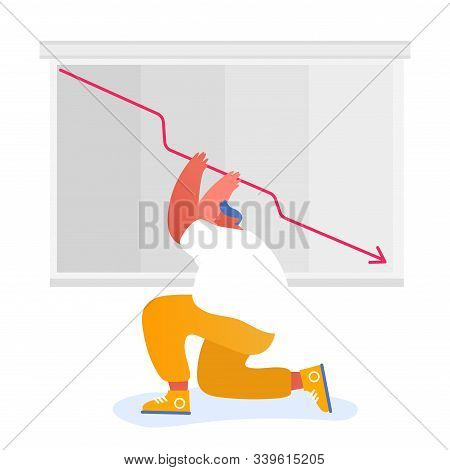 Businessman Or Stock Market Trader Shocked About Red Arrow Diagram Going Down. Investor Lose Profit