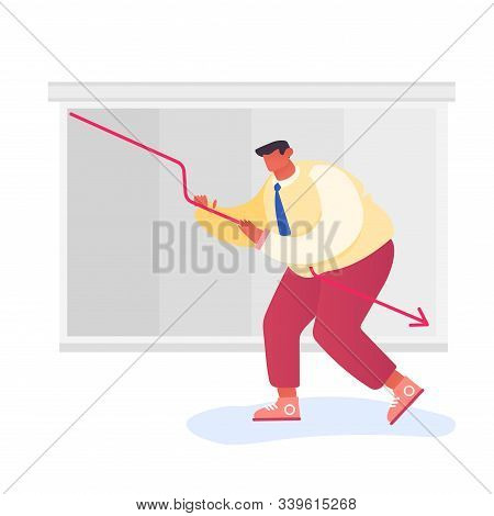 Investor Lose Money On Stock Market. Desperate Businessman Trying To Rise Up Decline Red Arrow On Ch