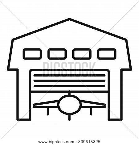 Aerodrome Hangar Icon. Outline Aerodrome Hangar Vector Icon For Web Design Isolated On White Backgro