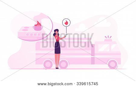 Woman Getting Notification From Smart Control System At Electronic Device Smartphone About Fire Acci
