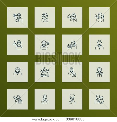 Profession Icons Line Style Set With Captain Woman, Military, Hair Stylist Woman And Other Veterinar
