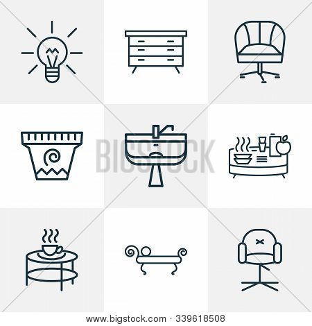 Home Decoration Icons Line Style Set With Buffet, Stylish Chair, Flower Pot And Other Ergonomic Chai