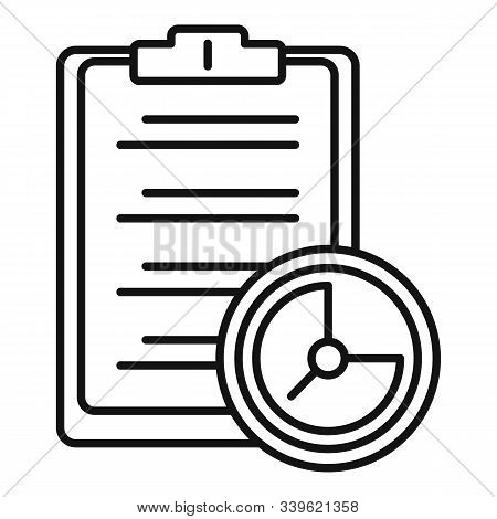 Clipboard Time Task Icon. Outline Clipboard Time Task Vector Icon For Web Design Isolated On White B