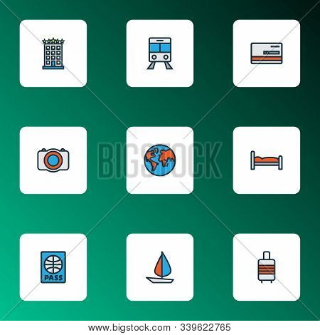 Exploration Icons Colored Line Set With Baggage Suitcase, Passport, Train And Other Citizenship Elem
