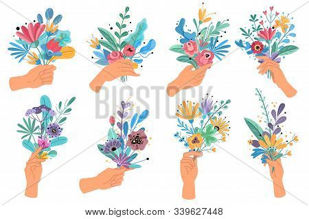 Hands Holding Bouquets. Colorful Floral Bundle Bouquets In Hands, Decorative Blooming Gifts Elegant