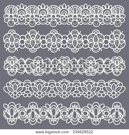 Lace Borders. Seamless Vintage Cotton Lace Eyelets, Horizontal Stripe Handmade. Embroidered Decorati