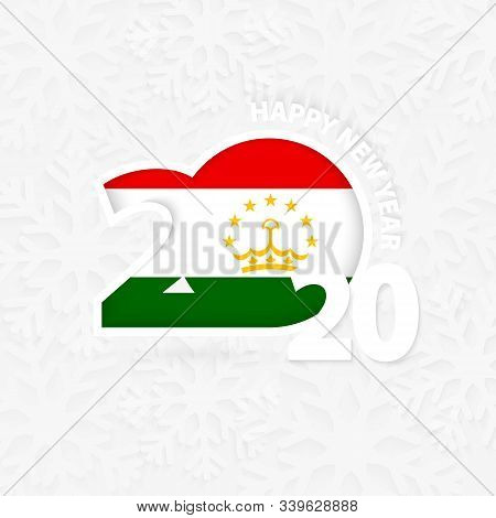Happy New Year 2020 For Tajikistan On Snowflake Background. Greeting Tajikistan With New 2020 Year.