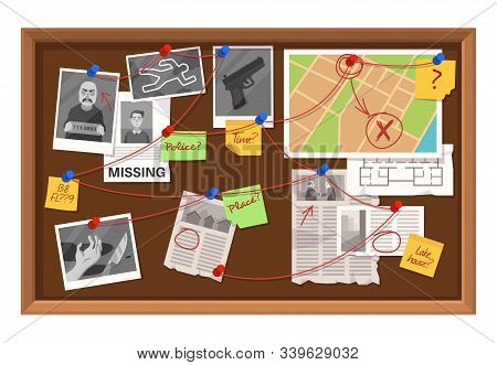 Detective Board. Crime Investigation In Police Department, Connections Chart With Newspaper Clipping