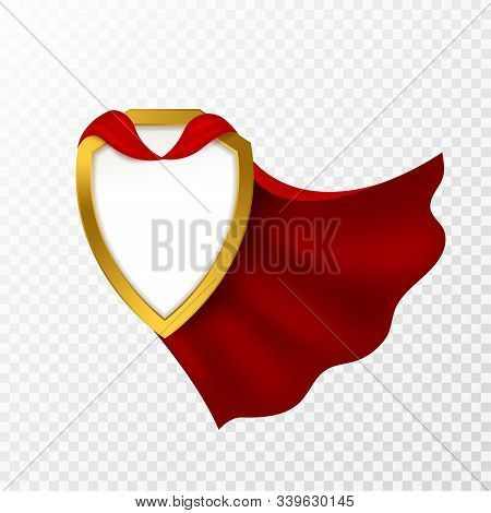 Red Cape Badge. Hero Cloak, Mantle Carnival Super Clothes With Blank Shield. Success And Leadership