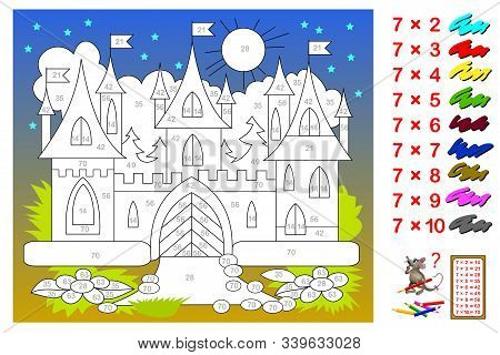 Multiplication Table By 7 For Kids. Math Education. Coloring Book. Need To Paint The Castle Correspo