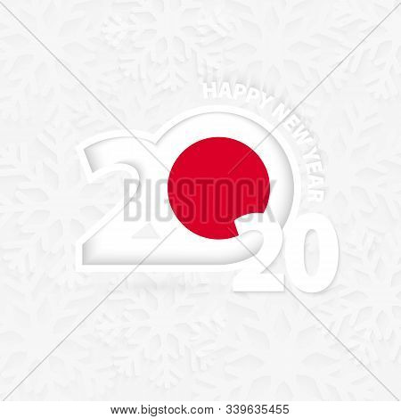 Happy New Year 2020 For Japan On Snowflake Background. Greeting Japan With New 2020 Year.