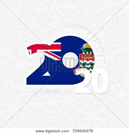 Happy New Year 2020 With Flag Of Cayman Islands On Snowflake Background. Greeting Cayman Islands Wit