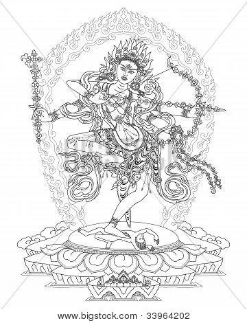 Kurukulla is a Tibetan Buddhist Deity, God of Love. poster