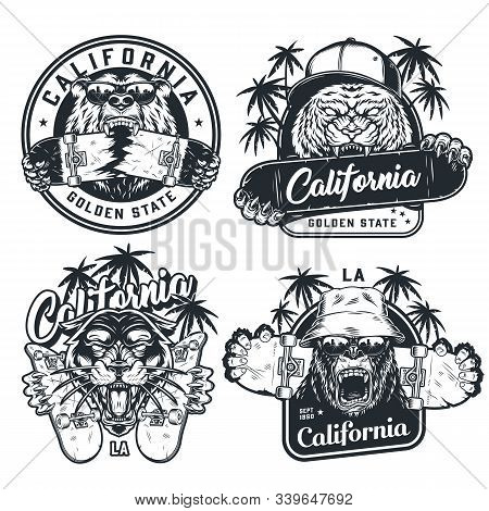 Skateboarding Vintage Labels With Angry Gorilla In Panama Hat Aggressive Tiger In Baseball Cap Feroc
