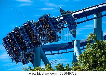 Orlando, Florida. December 07, 2019. People Having Fun Manta Ray Rollercoaster At Seaworld 9