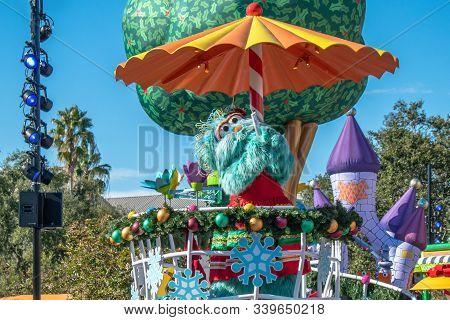 Orlando, Florida. December 07, 2019. Rosita In Sesame Street Christmas Parade At Seaworld
