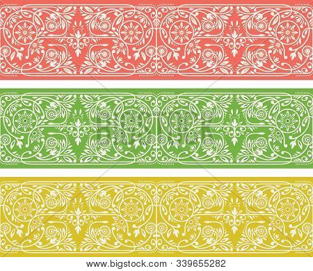 Summer Floral Borders Collection. Pink, Green And Yellow Seamless Vector Bands.