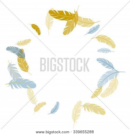 Colorful Silver Gold Feathers Vector Background. Easy Plumelet Ethnic Indian Graphics. Angel Wing Pl
