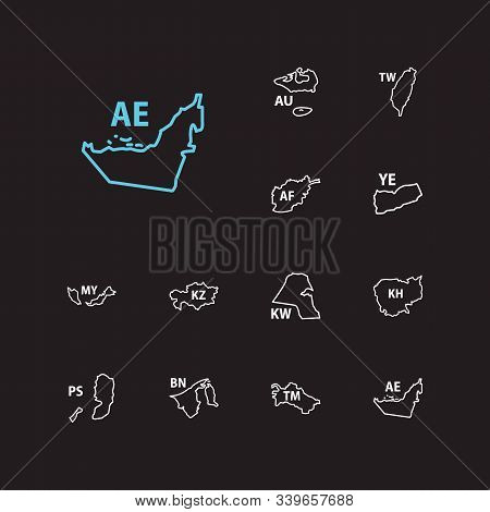 Cartography Icons Set. Afghanistan And Cartography Icons With United Arab Emirates, Kazakhstan And M