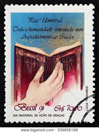 Brazil - Circa 1991: A Stamp Printed In Brazil Issued For The National Thanksgiving Day Shows Hand H
