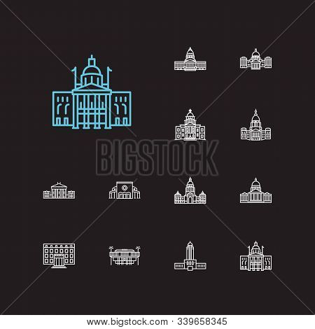Us Capitols Icons Set. Alaska State Capitol And Us Capitols Icons With Downtown, Courthouse And Cong