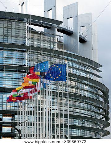 Strasbourg, Bas-rhin / France - 14. December, 2019: Vertical View Of The European Union Parlament Bu