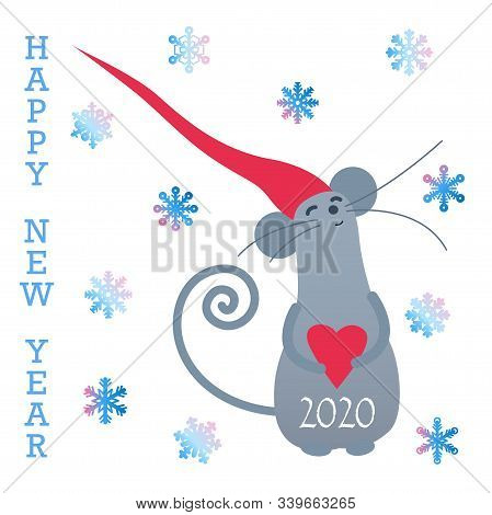 Happy New Year Gift Card With Cute Grey Rat. Funny Rat In New Year Greeting Card. Cute Little Mice.