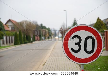 Speed Limit Sign To 30 Kilometers Per Hour In City District