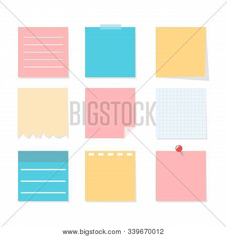 Colorful Note Sheet Set. Vector Isolated Notepaper. Office Adhesive Reminder. Blank Space On Sticky