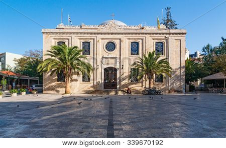 The Medieval City With Basilica Of St Titus, The Patron Saint Of Crete, Heraklion, Crete, Greece