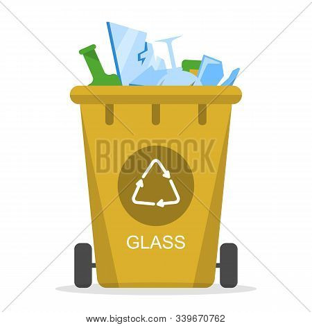 Glass Waste In The Trash Bin Vector Isolated. Collection Of Garbage