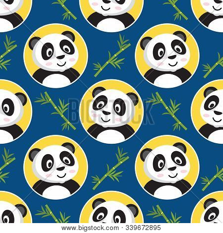 Seamless Pattern With Cute Little Pandas In Yellow Circles With Banboo On A Blue Background. Flat Sl