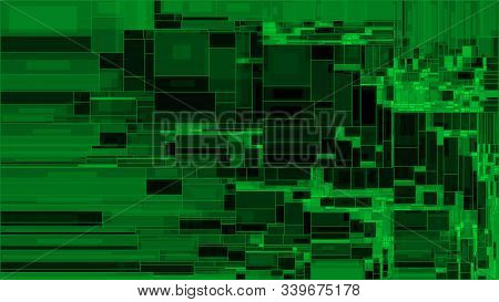 Vector Green Rectangle Shapes Structure Background. Illustration Of Abstract Layout With Squares. Sc
