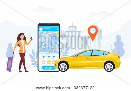 Tourist With A Suitcase Using A Mobile Ride Hailing App To Order A Car From An Urban Location Shown