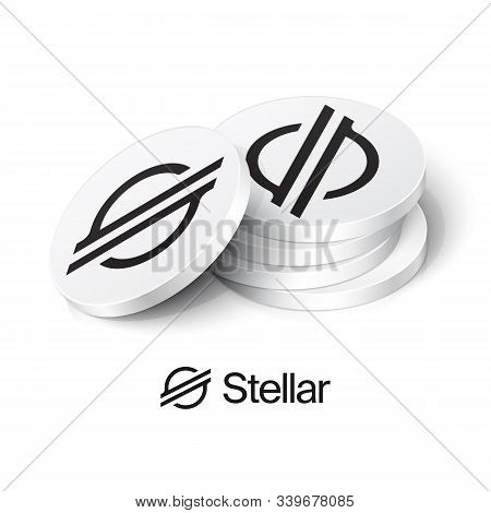Stack Of Stellar Cryptocurrency Tokens. Vector Illustration