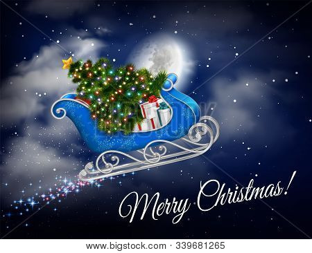 Santa Sleigh Flying Realistic Composition With Stars On Sky Ornate Text And Flying Sleigh With Gifts