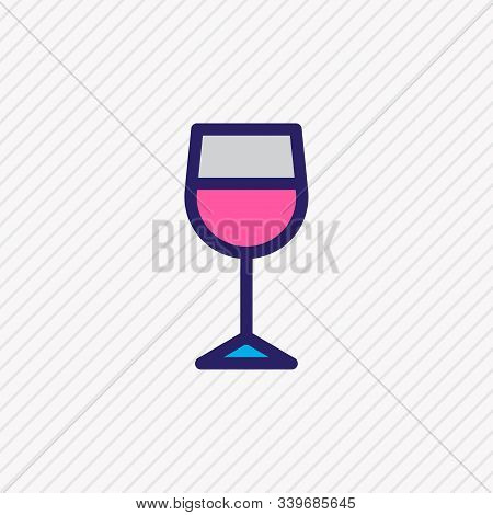 Vector Illustration Of Wineglass Icon Colored Line. Beautiful Lifestyle Element Also Can Be Used As