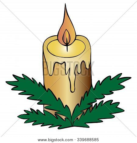 Christmas candle. Fir branches decoration. Colored vector illustration. Isolated background. Cartoon style. Magic attribute. The hot wax flows down the candle. Hot flame. Divination. Christmas. Christmastide. New Year. Festive print. Idea for web design.