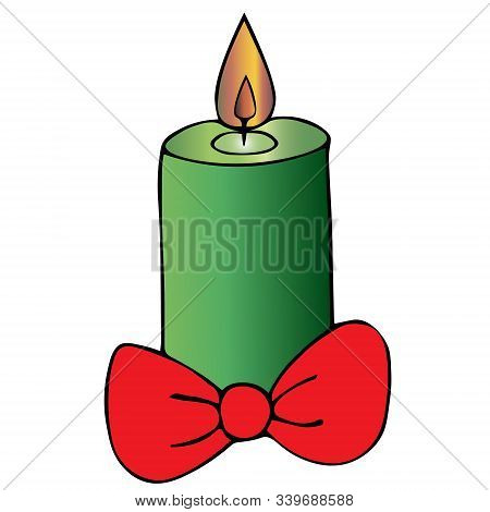 Christmas candle. Bow decoration. Colored vector illustration. Isolated background. Cartoon style. Magic attribute. The hot wax flows down the candle. Hot flame. Divination. Christmas. Christmastide. New Year. Festive print. Idea for web design.
