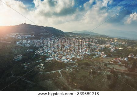 Aerial View Of Traditional Mountain Cyprus Village Pano Lefkara, Aerial Panoramic View From Drone.