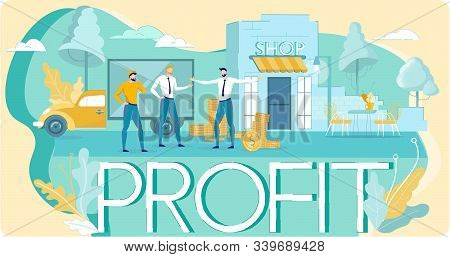 Loans And Investment In Small Business Idea. Franchise And Profit. Flat Poster. Financial Help Entre