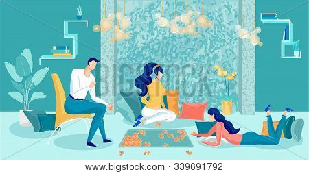 Friends Gathered At Home And Do Puzzles, Banner. Company Young People Settled In Living Room, Guy Si