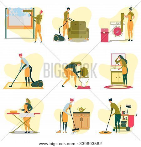 Cleaning Service Doing Different Tasks Flat Cartoon Vector Illustration. Man Cleaning Window, Vacuum