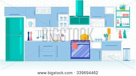 Kitchen For Large Family In Blue Shades, Vector. Modern Kitchen For Good Hostess. Built-in Stove And