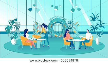 Bookcrossing In Spacious Modern Library, Cartoon. Group Young People Are Sitting In Spacious Room An