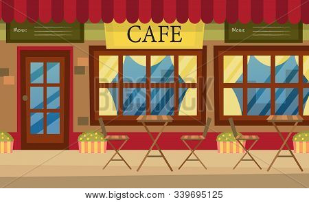 Street Cafe With Red Striped Awning, With Table, Chairs. Cosy Cafe Exterior In Cartoon Style. Flat S
