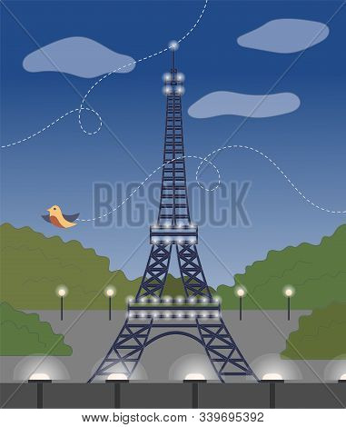 Evening View Of Eiffel Tower, Front View, Evening Lighting, Bird. Flat Style. Vector Illustration