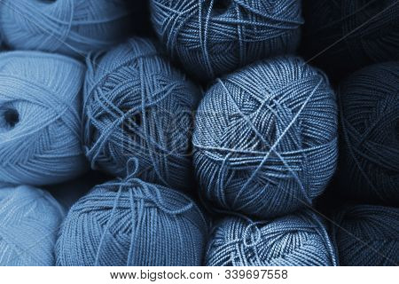 Skeins Of Wool In All Shades Of Classic Blue. Handmade Concept. The Color Of The Year 2020 Is Classi