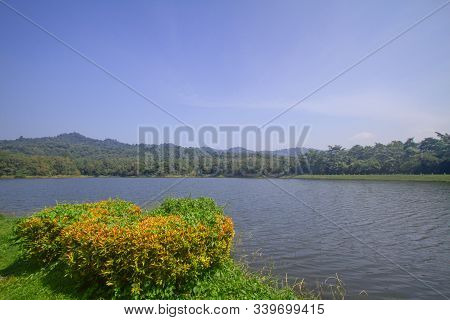 Blue Sky, Mountains And Reservoirs Landscape View